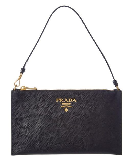 Prada | Black Saffiano Leather Cosmetic Pouch | Lyst