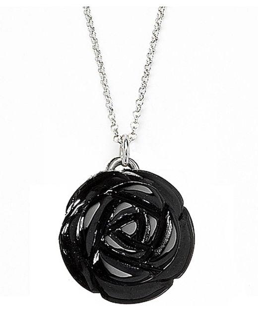 Jan Leslie | Small Black Onyx Gemstone Rose Pendant / Charm Necklace | Lyst