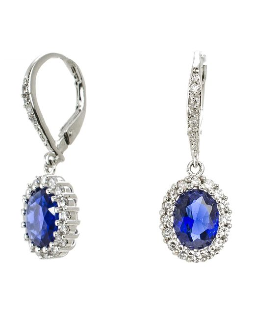 CZ by Kenneth Jay Lane | Blue 4cttw Oval Cz Pave Ears | Lyst