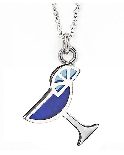 Jan Leslie   Blue Martini Glass Pendant / Charm Necklace   Lyst