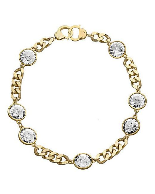 Handcuff Necklace Gold: Eklexic 7 Crystal Curb Chain & Handcuff Clasp Necklace
