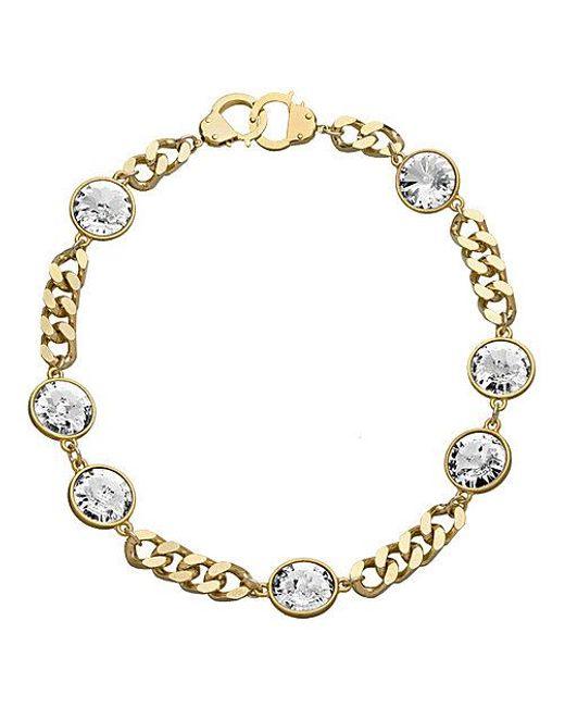 Eklexic | Metallic 7 Crystal Curb Chain & Handcuff Clasp Necklace (gold) | Lyst