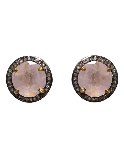Adornia | White Moonstone And Champagne Diamond Echo Stud Earrings | Lyst