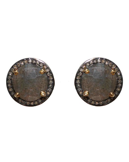 Adornia   Green Labradorite And Champagne Diamond Echo Stud Earrings   Lyst