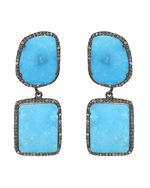 Adornia | Blue Turquoise And Champagne Diamond Riverside Earrings | Lyst