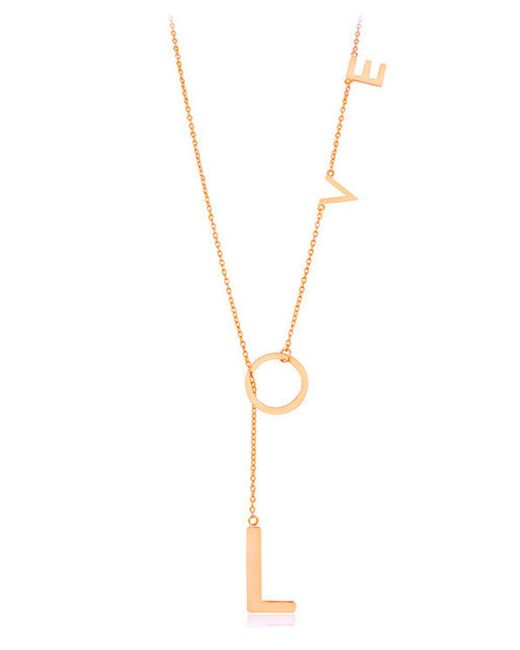 Adornia | Pink Rose Gold Vermeil Love Lariat Necklace | Lyst