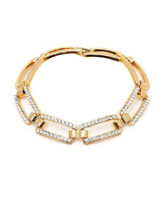 Peermont   Metallic Gold And Swarovski Elements Link Bracelet   Lyst