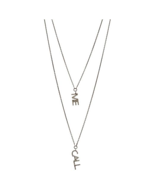 Adornia | Metallic Champagne Diamond And Sterling Silver Call Me Doublet Necklace | Lyst