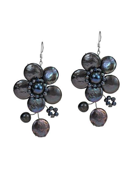 Aeravida   Black Lace Sakura Cultured Freshwater Pearl Flower .925 Silver Earrings   Lyst