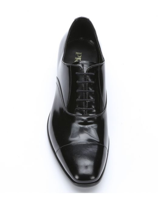 cheap fake prada purses - Prada Black Polished Leather Lace-up Oxfords in Black for Men ...
