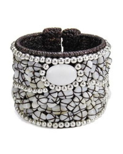 Aeravida | White Cotton Rope Mosaic Stone Brass Wire Adjustable Cuff | Lyst