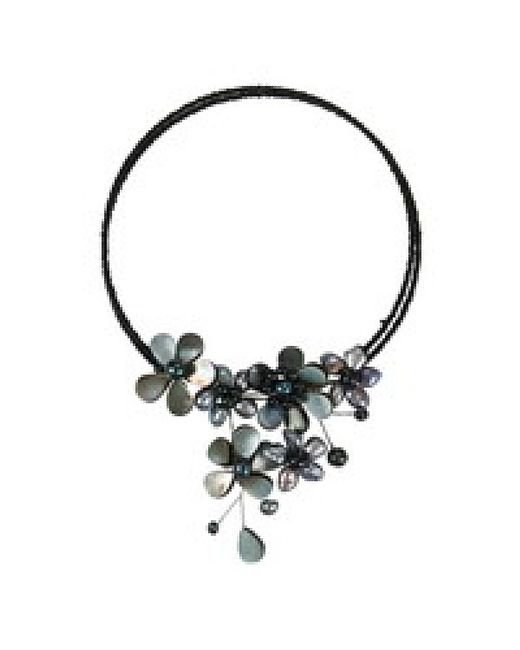 Aeravida | Black Multi Flower Pearl Cluster Choker Wire Wrap Necklace | Lyst