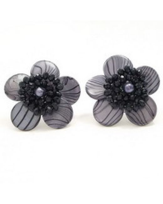 Aeravida | Black Zebra Flower Clip On Earrings | Lyst