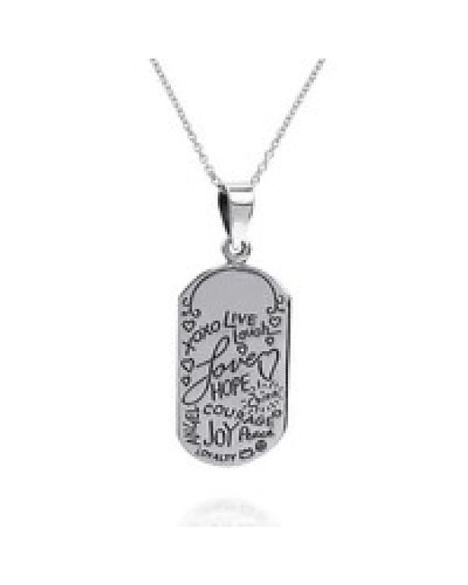 Aeravida | Metallic Inspirational Phrase 'live Laugh Love' .925 Silver Necklace | Lyst