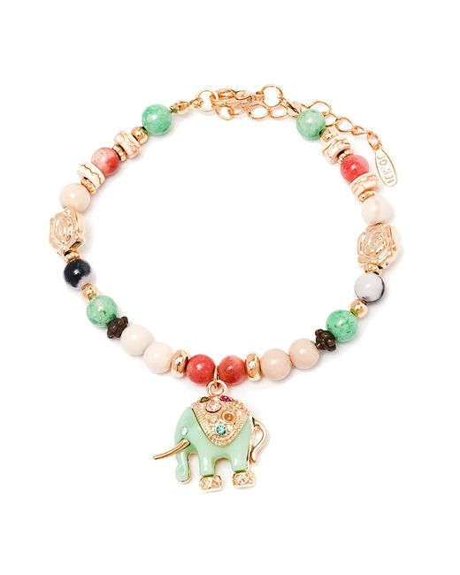 Peermont | Blue Gold And Multi Color Crystals Elephant Charm Bracelet | Lyst