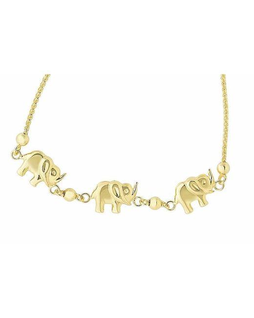 Tia Collections | Metallic 14kt Yellow Gold 3-raised Trunk Elephant Bracelet | Lyst