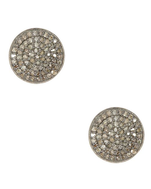 Adornia | Metallic Champagne Diamond And Sterling Silver Imogen Stud Earrings | Lyst