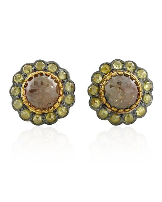 Socheec | Metallic Ice Diamond Stud Earrings | Lyst