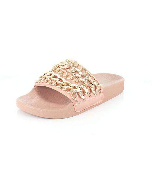 8b0c14e44fe Steve Madden - Brown Women s Chains Slide Sandal - Lyst ...