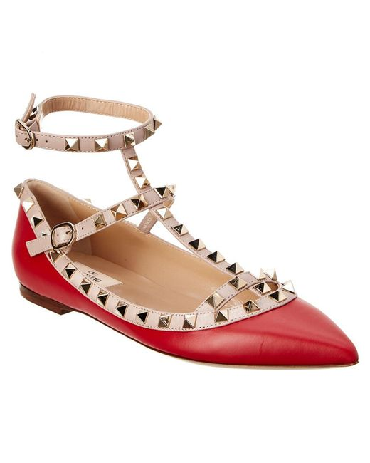 Valentino - Red Rockstud Leather Cage Flats - Lyst