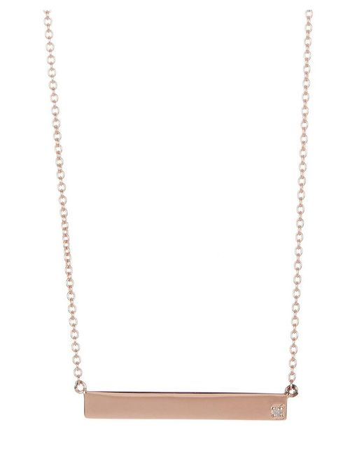 Adornia   Pink Rose Gold Vermeil And Diamond Bar Necklace   Lyst