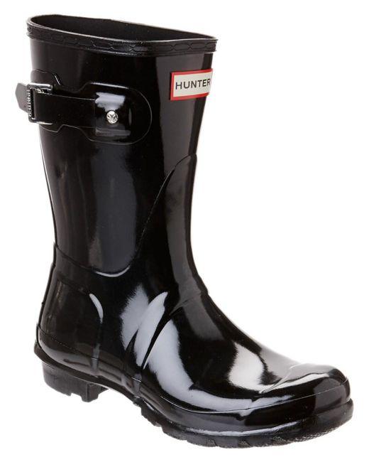 Hunter | Black Women's Original Short Gloss Boot | Lyst