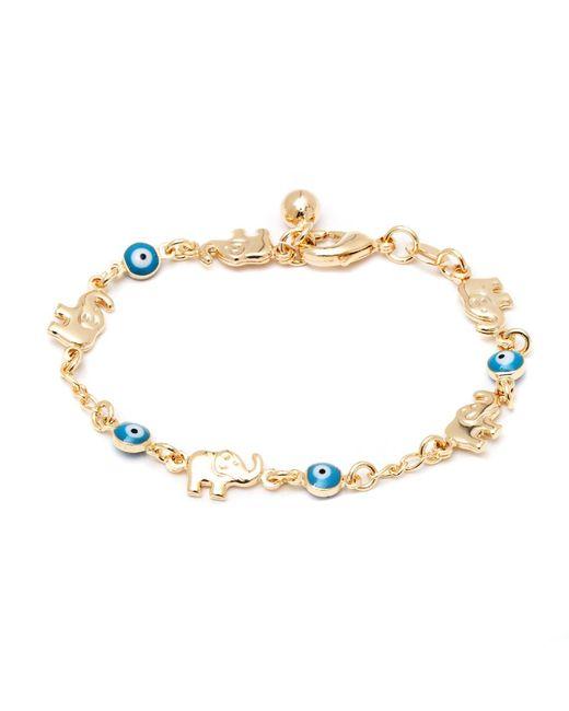 Peermont - Metallic Gold And Aqua Crystal Elephant And Evil Eye Enamel Bracelet - Lyst