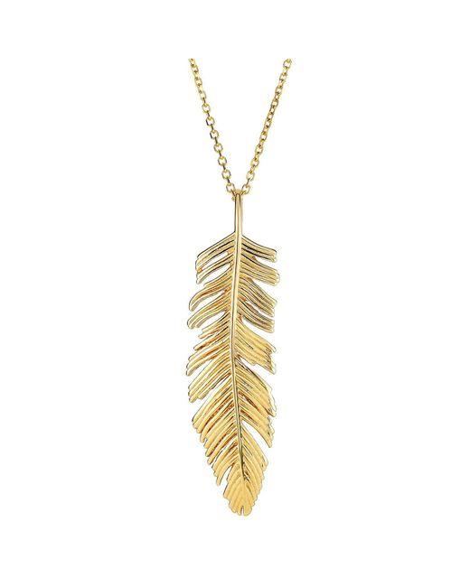 "JewelryAffairs - Metallic 14k Yellow Gold Feather Pendant Necklace,18"" - Lyst"