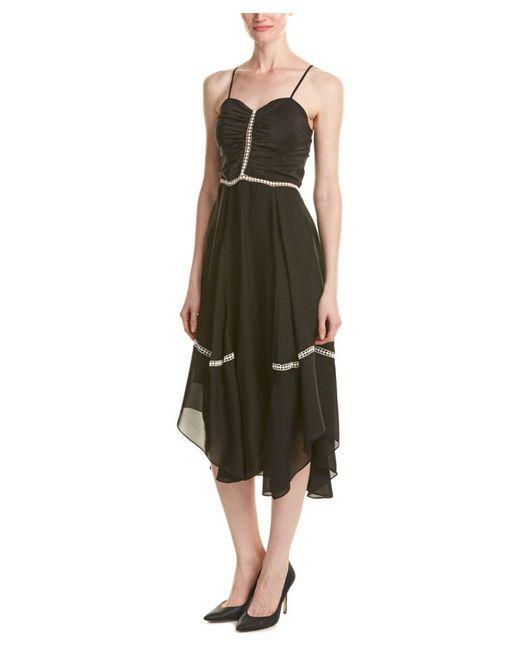 Parker | Black Daisy Combo Silk Midi Dress | Lyst