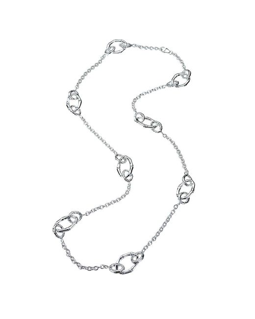 Jewelista - Metallic Sterling Silver Multi-link Station Necklace - Lyst