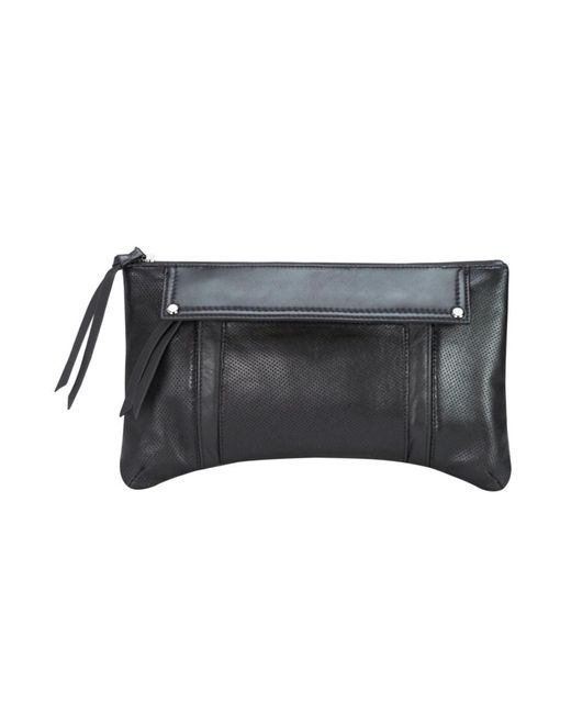 Mofe - Black Kismet Perforated Leather Clutch With 3 Easy Access Exterior Pockets And Rivet Studs - Lyst