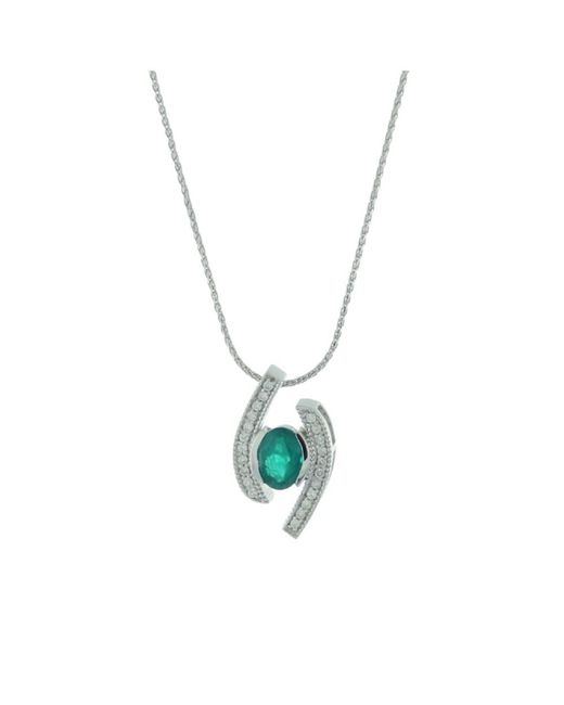Suzy Levian - Green Modern 14k White Gold Emerald And Diamond 0.85 Tcw Birthstone Pendant - Lyst