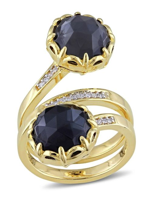 Catherine Malandrino | Metallic Hematite And Diamond Ring In 18k Yellow Gold Plated Sterling Silver | Lyst