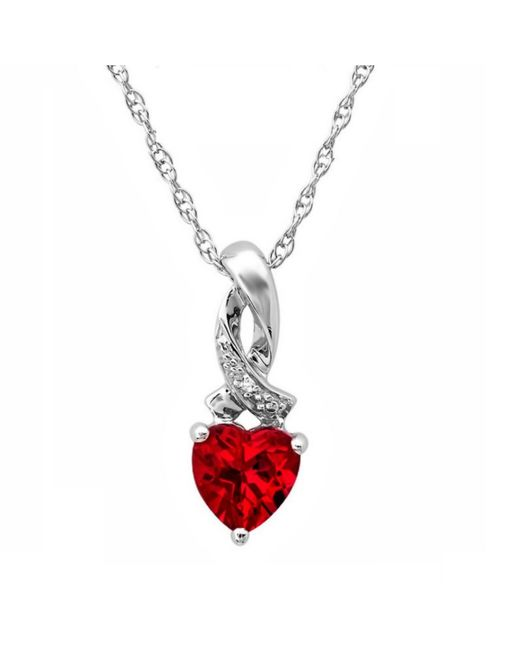 Amanda Rose Collection | Red Heart Shape Lab Created Gemstone And Diamond Pendant Necklace In Sterling Silver | Lyst