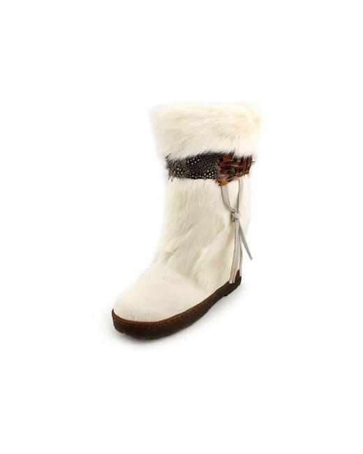 BEARPAW | Natural Kola Ii Women Round Toe Suede Snow Boot | Lyst