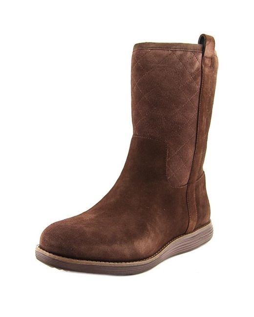 Cole Haan | Roper Grand Boot Wp Women Round Toe Suede Brown Mid Calf Boot | Lyst