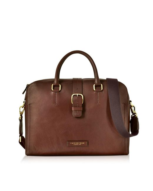 The Bridge - Dark Brown Leather Double Handle Briefcase W/detachable Shoulder Strap for Men - Lyst