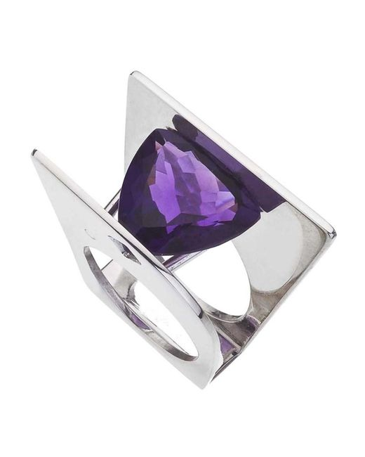 Jewelista | Purple Amethyst & Sterling Silver Ring | Lyst