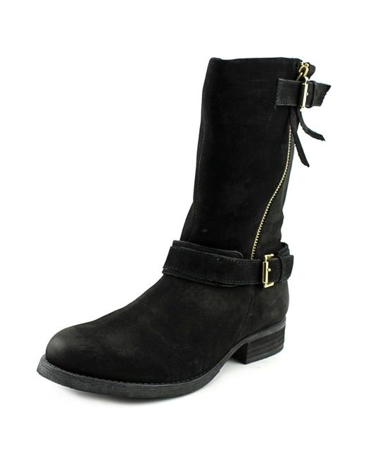 Steve Madden | Black Kavilier Round Toe Leather Mid Calf Boot | Lyst