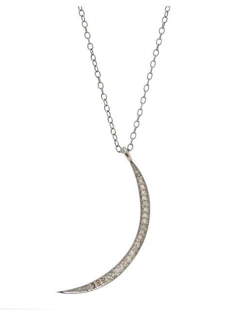 Adornia   Metallic Champagne Diamond And Sterling Silver Luna Ii Necklace   Lyst