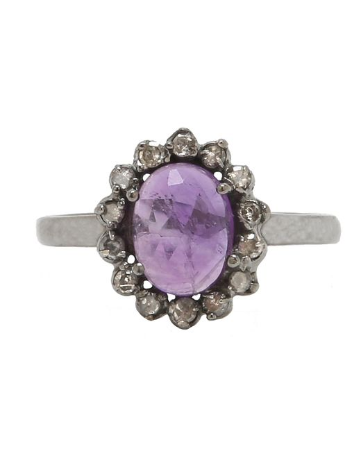 Adornia | Purple Amethyst And Champagne Diamond Genevieve Ring | Lyst
