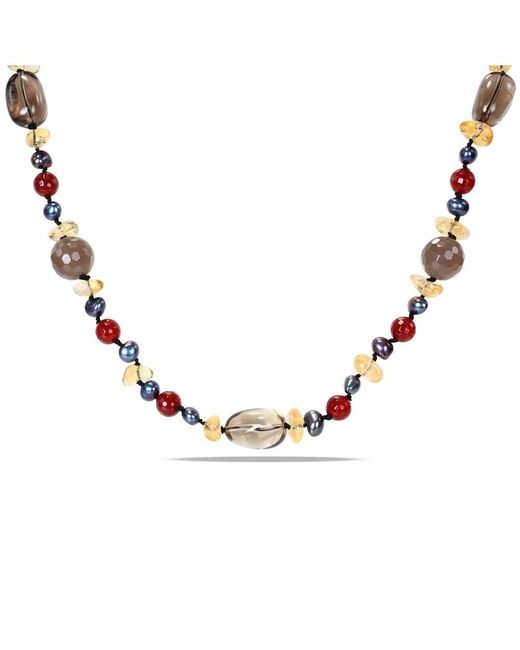 Catherine Malandrino | Multicolor Freshwater Cultured Pearl Agate Beads And Gemstone Necklace | Lyst