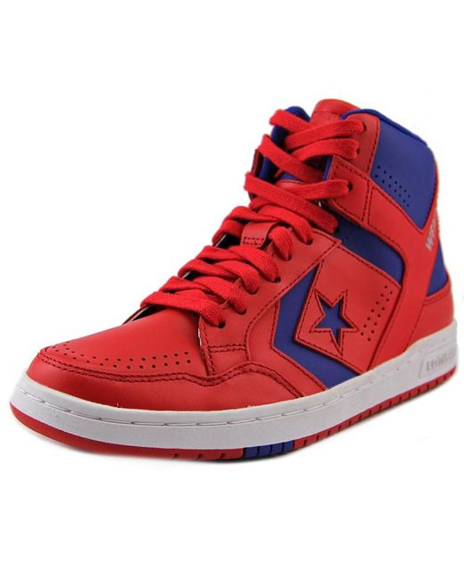 Converse | Red Weapon Mid Round Toe Leather Sneakers for Men | Lyst