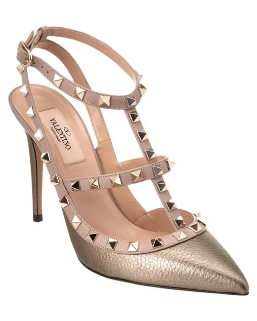 Valentino | Metallic Rockstud Leather Ankle Strap Pump | Lyst