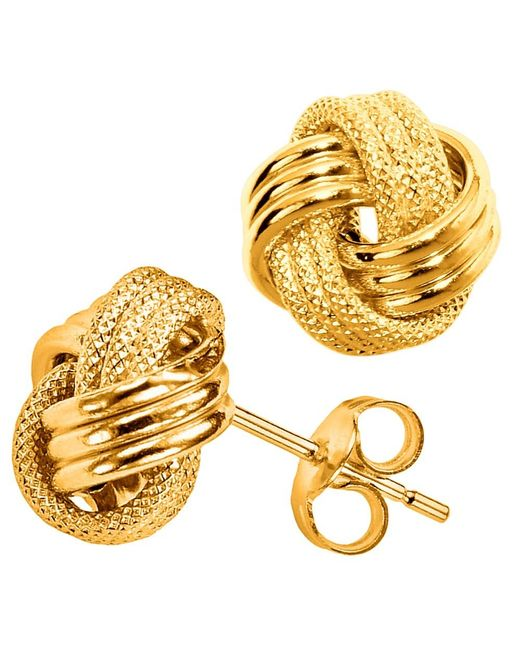 JewelryAffairs | 10k Yellow Gold Shiny And Textured Triple Row Love Knot Stud Earrings, 10mm | Lyst
