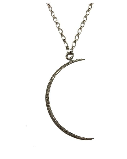 Blue Candy Jewelry | Metallic Pave Diamond Cresent Moon Pendant Necklace | Lyst