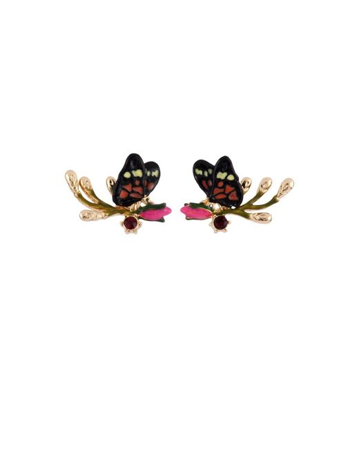 Les Nereides | Multicolor Oriental Rose Butterfly And Rosebud On A Branch Earrings | Lyst