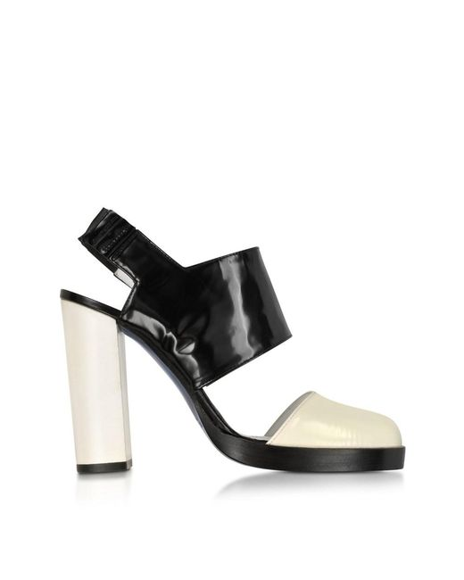 Jil Sander - Women's Js2229600509 White/black Leather Sandals - Lyst