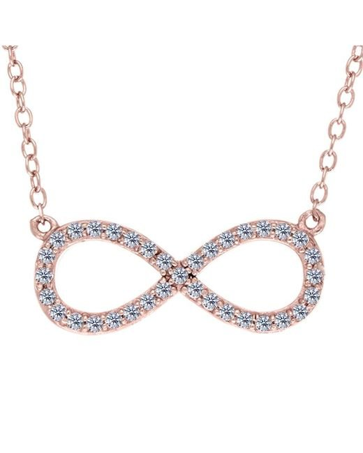 JewelryAffairs | White Infinity Sign Link And Cz Necklace In Rose Color Finish Sterling Silver, 18 | Lyst