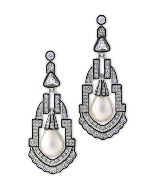 Kenneth Jay Lane | Metallic Women's Silver/pear/crystal Earring | Lyst